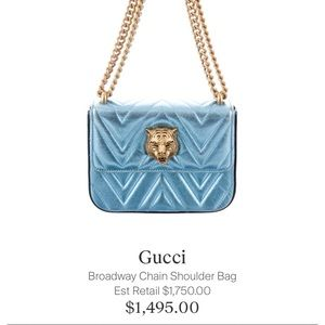 sky blue gucci broadway chain shoulder bag